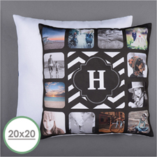Monogrammed Personalized 12 Collage Photo Pillow 20X20  Cushion (No Insert)