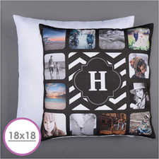 Monogrammed Personalized 12 Collage Photo Pillow 18X18  Cushion (No Insert)