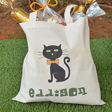 Cat Personalized Halloween Trick Or Treat Bag For Boys