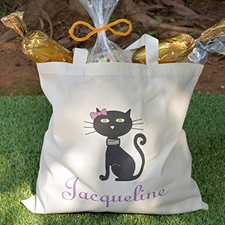 Cat Personalized Halloween Trick Or Treat Bag For Girls