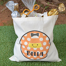 Candy Corn Personalized Halloween Trick Or Treat Bag For Girl