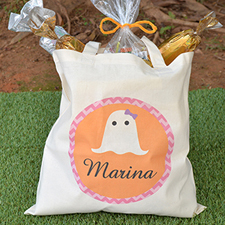 Ghost Personalized Halloween Trick Or Treat Bag For Girl