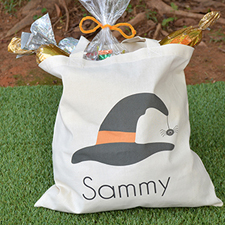 Witch Hat With Spider Personalized Halloween Trick Or Treat Bag