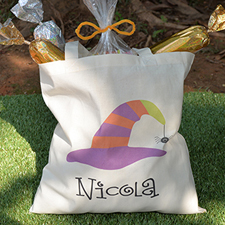 Stripe Witch Hat Personalized Halloween Trick Or Treat Bag For Girls