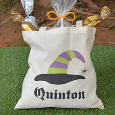 Stripe Witch Hat Personalized Halloween Trick or Treat Bag for Boys
