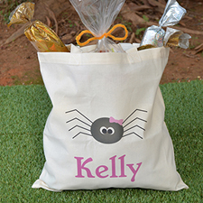 Spider Personalized Halloween Trick Or Treat Bag For Girl