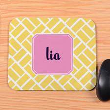 Yellow Grid Personalized Mousepad
