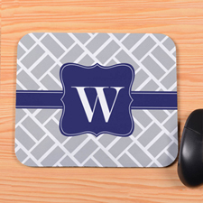 Grey Grid Personalized Mousepad