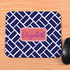 Navy Grid Personalized Mousepad