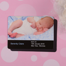 Personalized Hello Girl Black Birth Announcement Photo Magnet