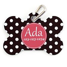 Polka Dot Personalized Dog Tag Bone Shape