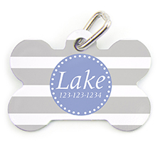 Grey Stripe Personalized Dog Tag Bone Shape