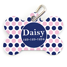 Navy Pink Dot Personalized Dog Tag Bone Shape