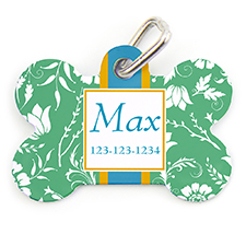 Green Floral Personalized Dog Tag Bone Shape