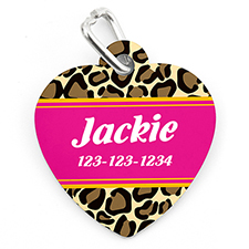 Animal Skin Personalized Pet Tag Heart Shape