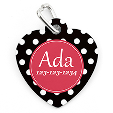 Polka Dot Personalized Pet Tag Heart Shape