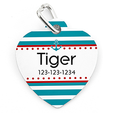 Anchor Dot Personalized Pet Tag Heart Shape