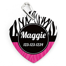 Zebra Dot Personalized Pet Tag Heart Shape