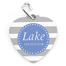 Grey Stripe Personalized Pet Tag Heart Shape