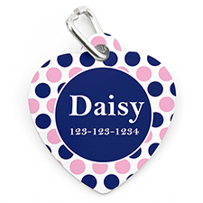 Navy Pink Dot Personalized Pet Tag Heart Shape