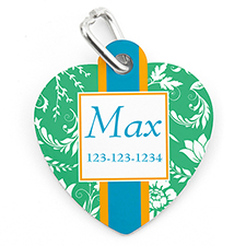 Green Floral Personalized Pet Tag Heart Shape