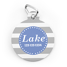 Grey Stripe Personalized Pet Tag Round Shape