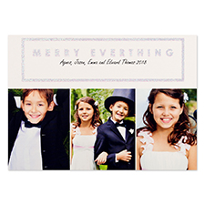 White Merry Silver Glitter Personalized Photo Christmas Card 5X7
