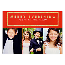 Merry Everything Glitter Gold Personalized Photo Christmas Card 5X7