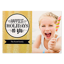 Happiest Holidays Gold Glitter Personalized Photo Christmas Card 5X7