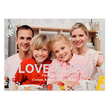Love & Joy Silver Glitter Personalized Photo Christmas Card 5X7