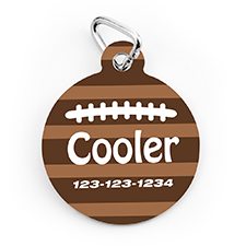 Football Personalized Pet Tag Round Shape