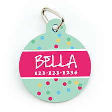 Confetti Dot Personalized Pet Tag Round Shape