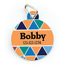 Colorful Triangle Personalized Pet Tag Round Shape