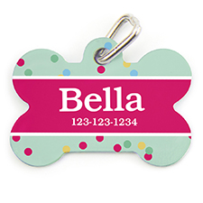 Confetti Dot Personalized Dog Tag Bone Shape