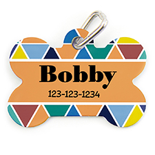 Colorful Triangle Personalized Dog Tag Bone Shape