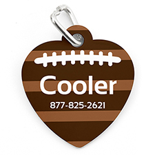 Football Personalized Pet Tag Heart Shape