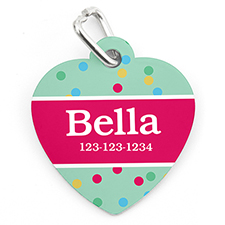 Confetti Dot Personalized Pet Tag Heart Shape