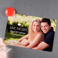 Heart Personalized Save The Date Photo Magnet 4x6 Large