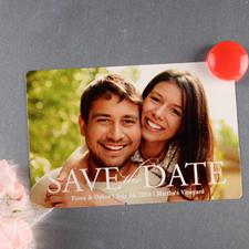 Handwritten Personalized Save The Date Photo Magnet 4x6 Large