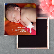 Cross Boy Christening Personalized Photo Magnet Keepsake