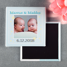Twins Boy Christening Personalized Photo Magnet Keepsake