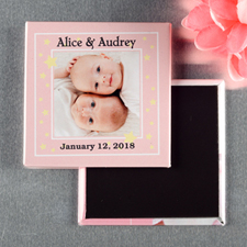 Twins Girl Christening Personalized Photo Magnet Keepsake