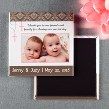 Twins Girl Baptism Personalized Photo Magnet Keepsake
