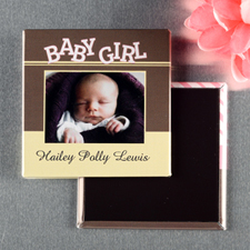 Yellow And Brown Baby Girl Personalized Photo Magnet Keepsake