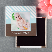Baby Blue Frame Personalized Photo Magnet Keepsake