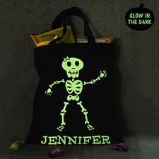 Girl Skull Personalized Glow In The Dark Halloween Tote Treat Bag Black