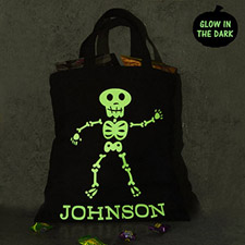 Boy Skull Personalized Glow In The Dark Halloween Tote Treat Bag Black