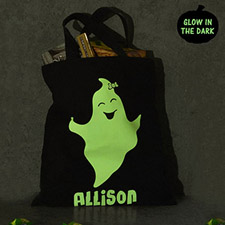 Girl Ghost Personalized Glow In The Dark Halloween Tote Treat Bag Black