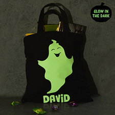 Boy Ghost Personalized Glow In The Dark Halloween Tote Treat Bag Black