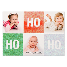 Ho Ho Ho Glitter Personalized Photo Christmas Card 5X7